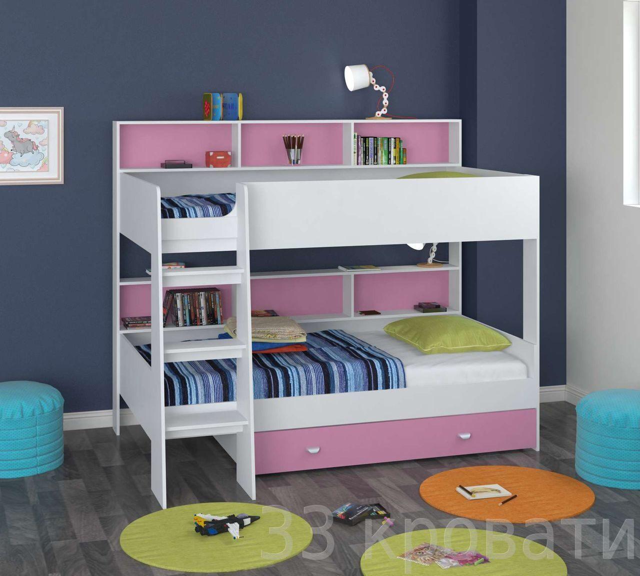 Детскую двухъярусную кровать с матрасом   магазине